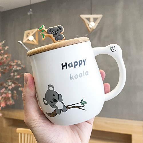 CXL Taza de cerámica de Koala Simple, Taza de Marca Linda con Cuchara de Tapa, Taza de café con Leche para el Desayuno ecológica