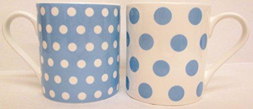 Pois Bleu Clair & pois Lot de 6 Mugs Tasses en porcelaine fine Balmoral Bleu décoré à la main au Royaume-Uni Livraison gratuite au Royaume-Uni