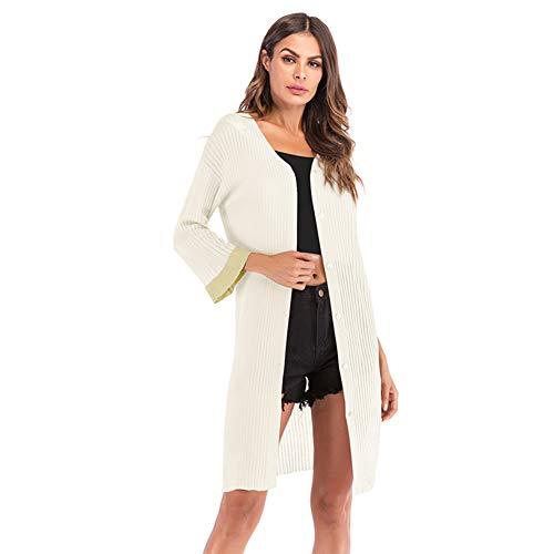 YYH dames cardigan zomer sheer lichte lange mouwen voorste lange gebreide jas Kimono Medium zwart