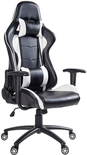 WSDSX Office Chairs High Back Gaming Chair,Office Computer Chair PU Leather Rolling Swivel Task Chair Heavy Duty Desk Chair,with Headrest and Lumbar Pillow Massage Chair For Adults (Color : Bl