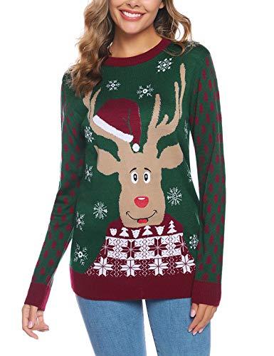 Abollria Suéter Navidad Mujer Cuello Alto Jersey Pullover Mujer Navidad Invierno Mujeres de Manga Larga de Punto Jersey