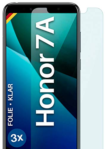 moex Klare Schutzfolie kompatibel mit Huawei Honor 7A - Bildschirmfolie kristallklar, HD Bildschirmschutz, dünne Kratzfeste Folie, 3X Stück