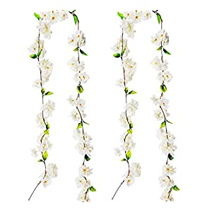 BEFINR Artificial Cherry Blossom Vine White Petal Flowers Forever Plants Garland for Art Home Decoration Wedding Party Garden Office 2 Pack