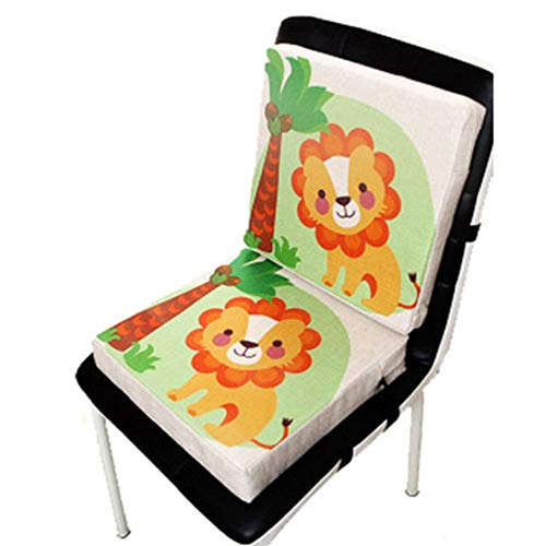 Renquen Asiento infantil con estampado de animales, asiento elevador de lino, asiento elevador extraíble y ajustable, ideal para bebés de 33 x 33 x 6,5 cm