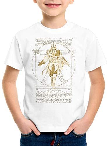 A.N.T. Nizarí de Vitruvio Camiseta para Niños T-Shirt Desmond Miles, Color:Blanco, Talla:128