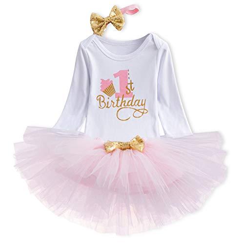 TTYAOVO Bebita 1er Cumpleaños Princesa Tutu Falda Ropa Conjunto de 3 Piezas Trajes Mameluco Falda Diadema (Leggings) 4-24 Meses (1 Años, 06 Rosado)