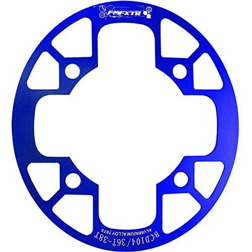 Adoolla Cubierta de protección para bicicleta MTB 32T/34T 36T/38T/40T/42T piñón de bicicleta Bielas Protector de rueda 104bcd oval placa de protección 36-38T azul