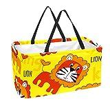 Bolsa de comestibles reutilizable grande, resistente bolsa de compras con parte inferior reforzada y asa (estampado de dibujos animados con patrón de león de animales)