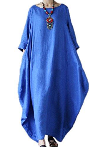 Frauen Im Eleganten Baumwolle Und Leinen Maxi - Kleid, Weite Röcke Und Größe Blue 3XL