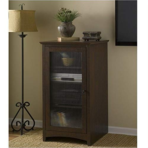 Pemberly Row Fluted Glass Audio Video Media Cabinet Bookcase in Madison Cherry