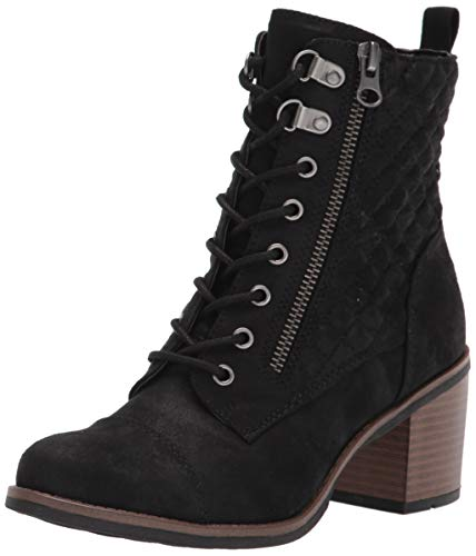 White Mountain Shoes Dorsett Women's Lace-up Stacked Heel Bootie, Black/Waxy/Fabric, 9.5 M