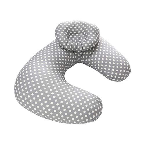Baby Breastfeeding Nursing Pillow and Positioner,Machine Washable U Shape Nursing and Infant Support Pillow Bonus Head Positioner(Gray Point)