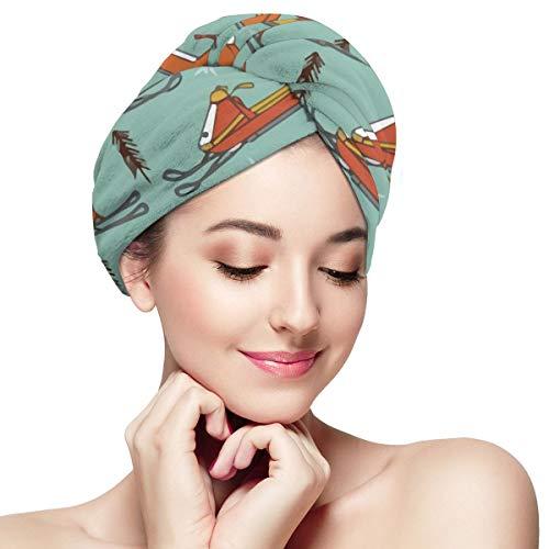 Snowmobiles Vintage Mosterd Oranje Microvezel Haar Drogen Handdoek Wrap Super Absorbens Twist Turban Snelle Droog Haar Caps