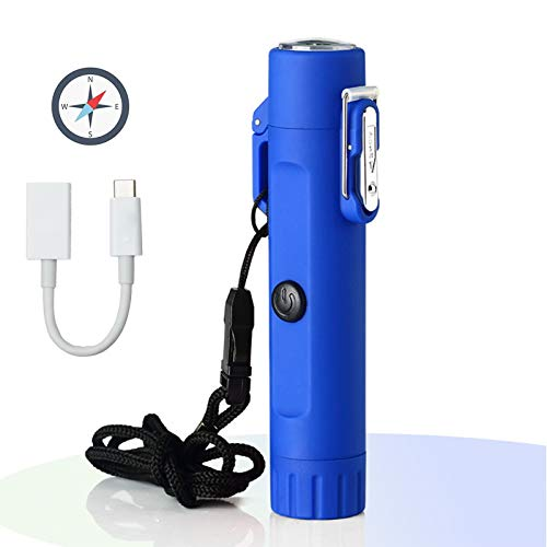 Linterna eléctrica del encendedor - 2 en 1 Lechero de plasma a prueba de viento con brújula, encendedor sin llama recargable portátil para acampar Senderismo Aventura al aire libre Supervivencia Tácti
