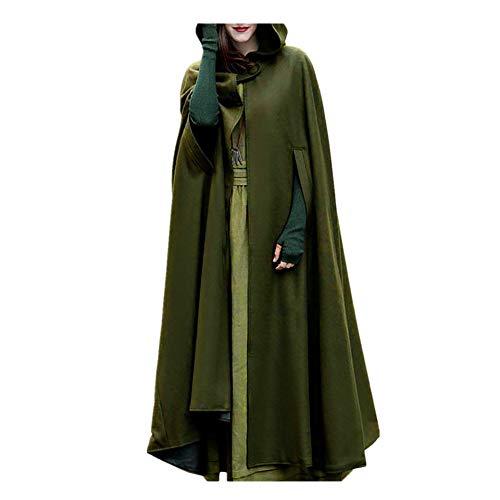 iHENGH Damen Herbst Winter Bequem Mantel Lässig Mode Jacke Frauen Trenchcoat Cardigan mit offener Vorderseite und Mantel Mantel Poncho Plus(Armeegrün, XL)