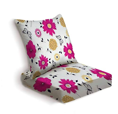 2-Piece Outdoor Deep Seat Cushion Set Floral Pattern with butterflies and flowers for spring and summer Back Seat Lounge Chair Conversation Cushion for Patio Furniture Replacement Seating Cushion