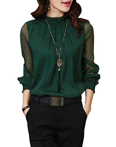 [セカンドルーツ] 長袖 シャツ シフォン オフィス フォーマル セクシー おおきいサイズ 大きい 大きいサイズ ルーム ルームウェア ルームウエア 部屋着 ふんわり ブラウス 可愛い かわいい ビジネス ビッグサイズ オフィス用 シンプル シンプルデザイン みどり みどり色 緑 緑色 グリーン グリーンカラー グリーン色 色 カラー 2XL 2XLサイズ シースルー 袖 R023-GR2XL