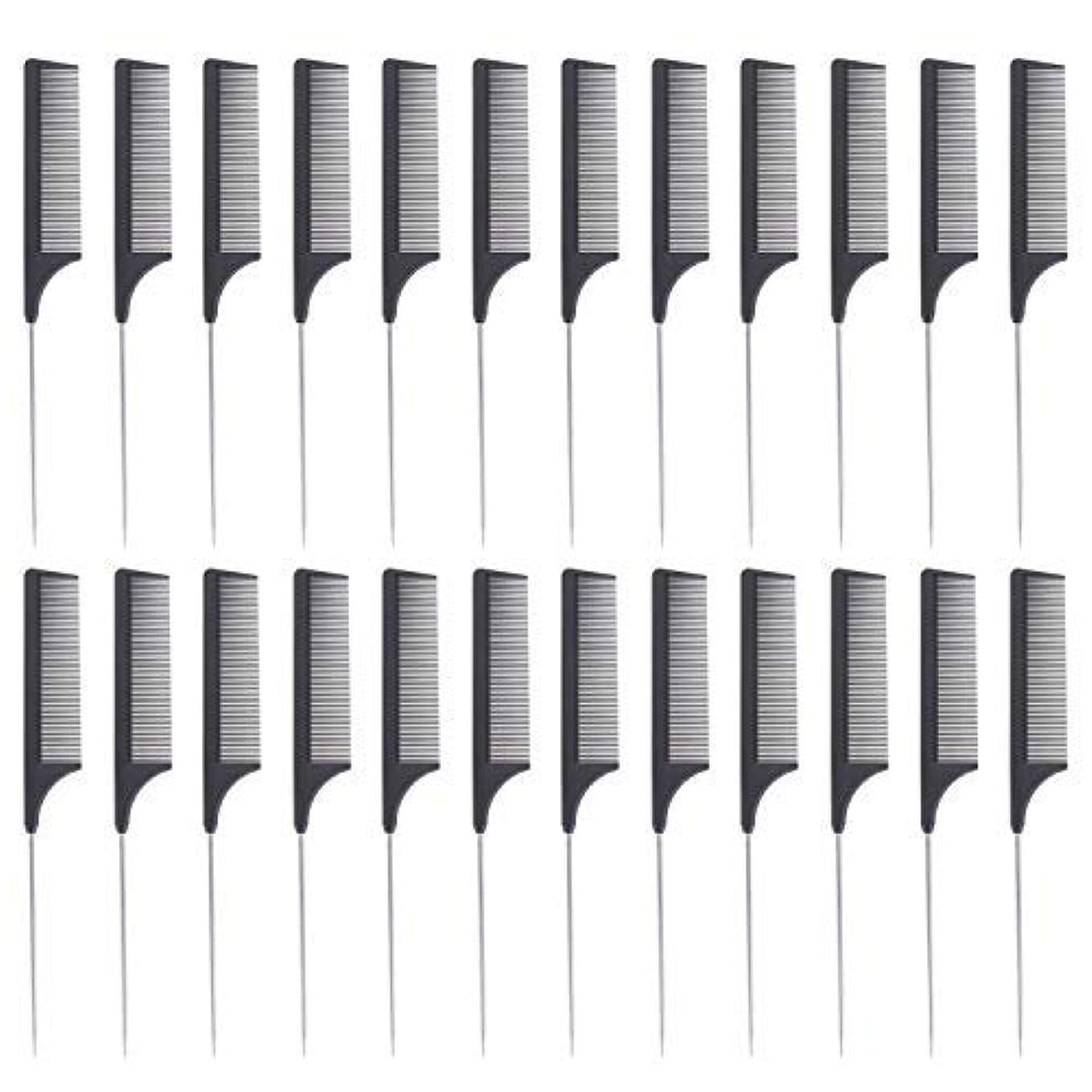 決定する移植素敵な24 Pieces Comb Black Tail Styling Comb Chemical Heat Resistant Teasing Comb Carbon Fiber Hair Styling Combs for Women Men Hair Types Styles [並行輸入品]