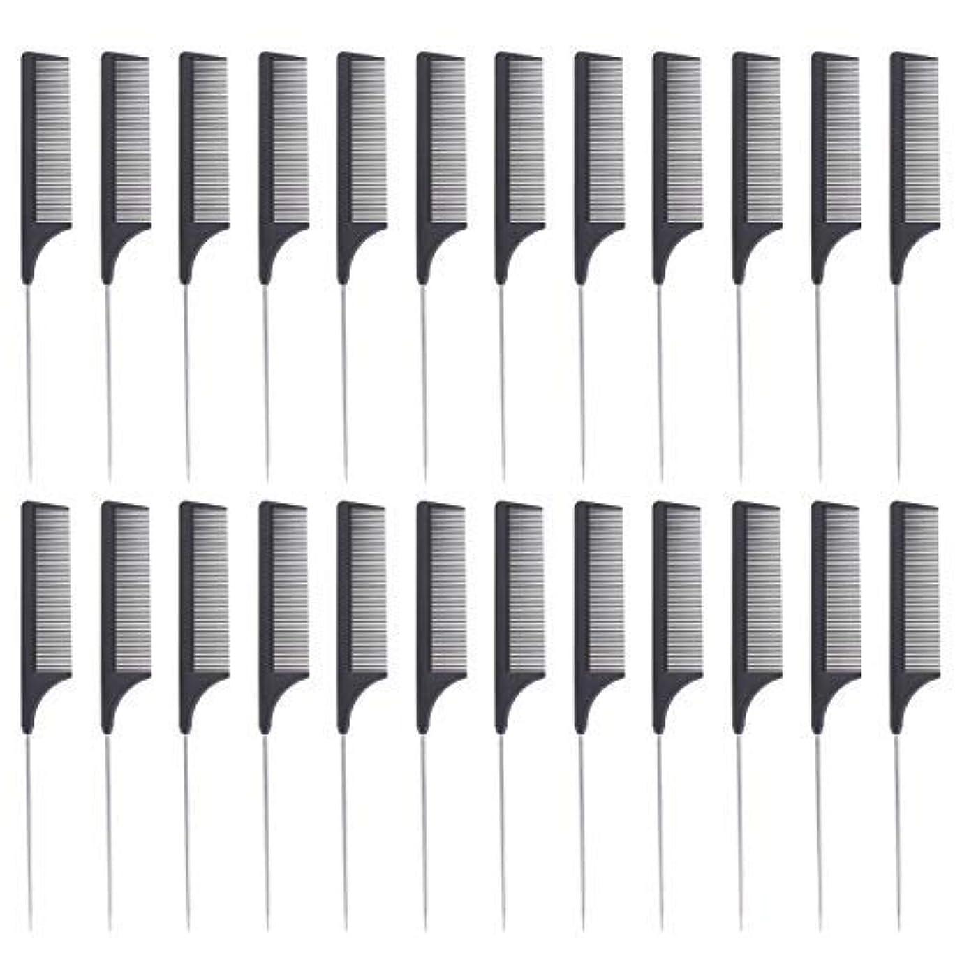 非アクティブトースト正しい24 Pieces Comb Black Tail Styling Comb Chemical Heat Resistant Teasing Comb Carbon Fiber Hair Styling Combs for Women Men Hair Types Styles [並行輸入品]