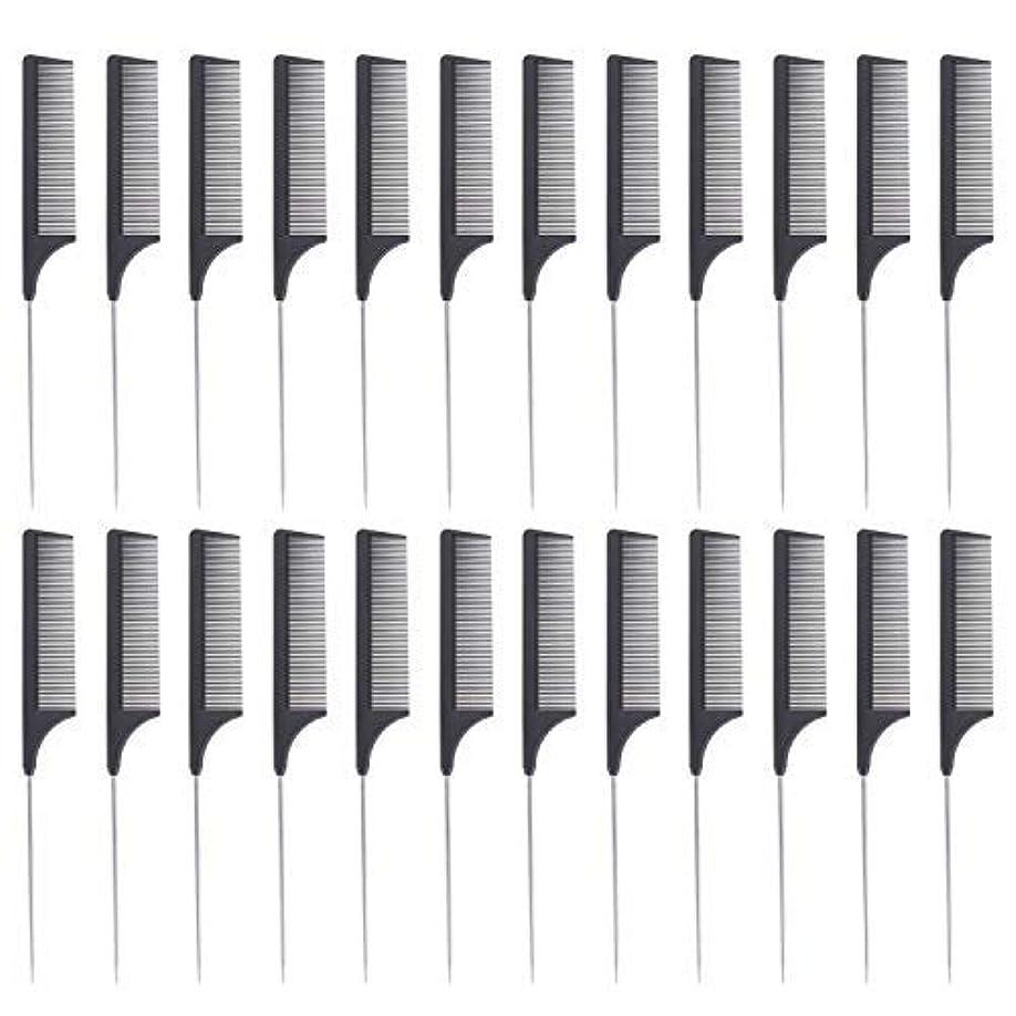 撤退上流の水24 Pieces Comb Black Tail Styling Comb Chemical Heat Resistant Teasing Comb Carbon Fiber Hair Styling Combs for Women Men Hair Types Styles [並行輸入品]