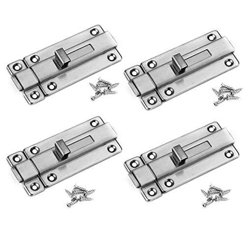 BTMB 2 Inch Stainless Steel Door Latch Sliding Lock Barrel Bolt with Screws,Pack of 4