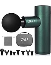 2NLF Mini Muscle Massage Gun,4 Speeds Deep Tissue Muscle Electric Massager Gun for release Muscle pain,Cordless Handheld Percussion Massager Portable case with 8 Heads,for Gift(Green)