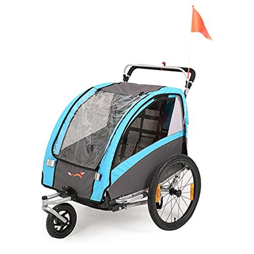 SEPNINE 2 In 1 FahrradanhäNger FüR Kinder Einsitzer Zweisitzer Kindertrolley Transporter, Klappbar Mit Handbremse (Blau)