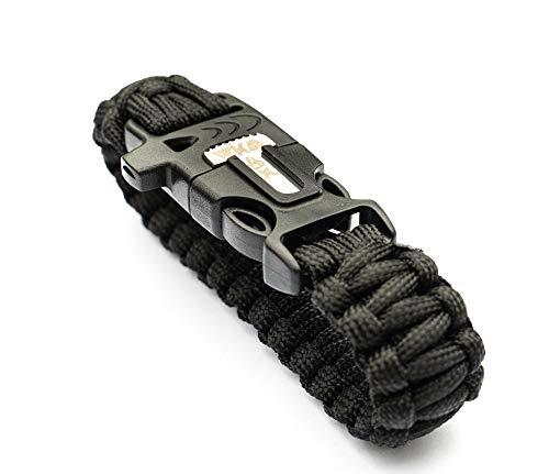 WIKA Survival Armband, Paracord, Feuerstein, Messer, Signalpfeife (Schwarz)