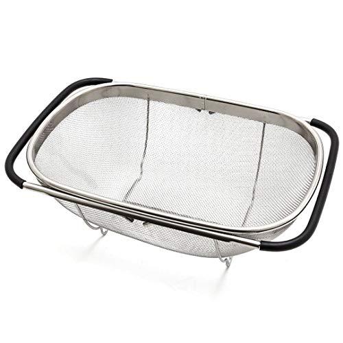 Edelstahl Sieb für Spüle Abtropfsieb ausziehbar bis 55 cm Seiher Spülensieb Spülsieb