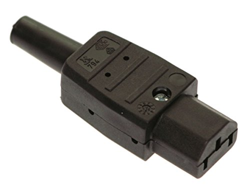 as - Schwabe 62081 Thermoplast-Gerätesteckdose 70°, schwarz, Typ C13 Kaltgeräte, 230 V