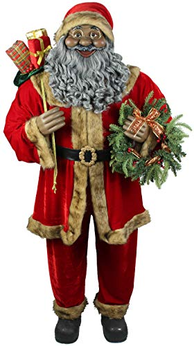 Fraser Hill Farm Red Life-Size Indoor Christmas Decoration, 5-Ft. African American Santa Claus Holding Wreath & Wearing Velvet Suit w/Fur Trim