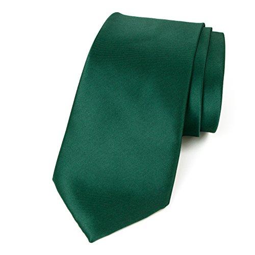 Spring Notion Men's Solid Color Satin Microfiber Tie, Regular Emerald Green