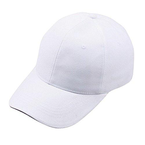Baseball Cap Basecap Piebo Unisex Baseball Kappen Baseball Mützen für Draussen Sport oder auf Reisen Reine Farbe Baseboard Baseballkappe Kappe Mütze (Weiß)