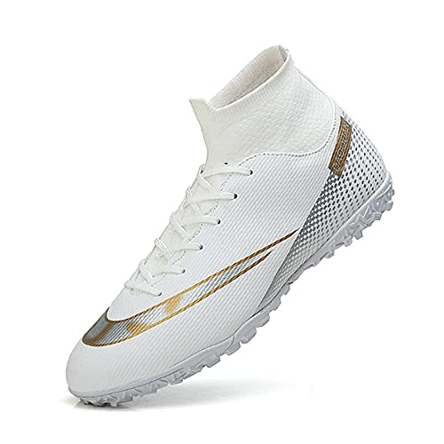 Breathable Football Shoes for Boys Soccer Shoes Lace-Up Man Football Boots Teenager Trainers White