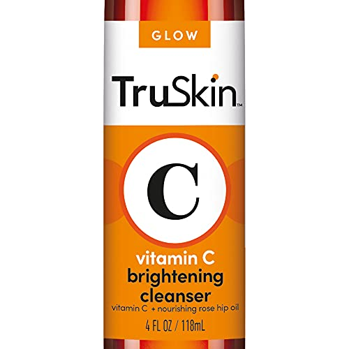 TruSkin Vitamin C Facial Cleanser, Brightening Anti-Aging Face Wash Blend includes Vitamin E, Tea Tree Oil, Rosehip Oil & Aloe Vera, for Daily Use to Fight UV Damage to Skin & Fight Acne, 4 fl oz