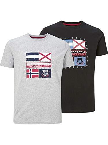 Jan Vanderstorm Preben - Juego de 2 camisetas de manga corta para hombre gris L