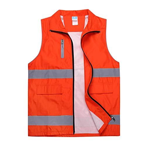 DBSCD Sicherheitsweste für Männer, orangefarbene Warnweste Komfortable atmungsaktive Arbeitskleidung Reflektierende Sicherheitsweste Sicherheitsweste (2XL)