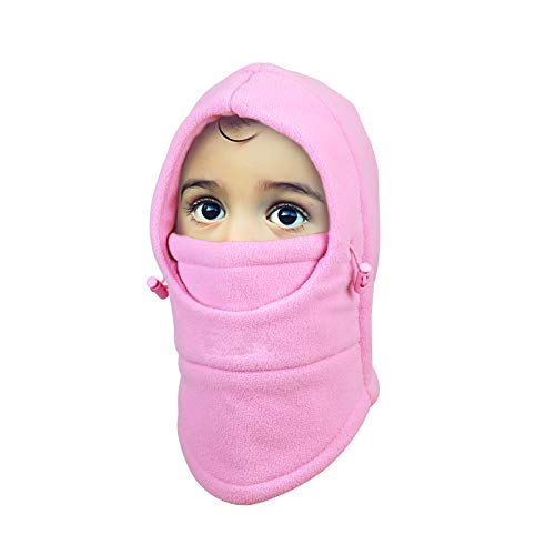 Metable Kids Winter Balaclavas Hat Windproof Face Mask Cover Cap Neck Warmer for Outdoor Sport Ski Snowboarding Cycling Pink