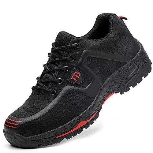 Zapatos de seguridad, ligeros, Kevlar, para hombres y mujeres, zapatos de trabajo, puntera de acero, transpirables, zapatillas de protección, color Negro, talla 44 EU