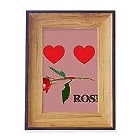 ローズのような赤い愛 フォトフレーム、デスクトップ、木製