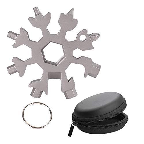 18-in-1Schneeflocke Multi-Tool Tragbares Edelstahl-Fahrrad Multifunktionswerkzeug Flaschenöffner Achtkantschlüssel EDC Werkzeuge mit Schlüsselring und Geschenkbox für Outdoor-Abenteuer (Silber)