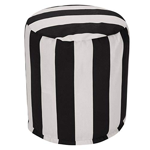 "Majestic Home Goods Black Vertical Stripe Indoor/Outdoor Bean Bag Ottoman Pouf 16"" L x 16"" W x 17"" H"