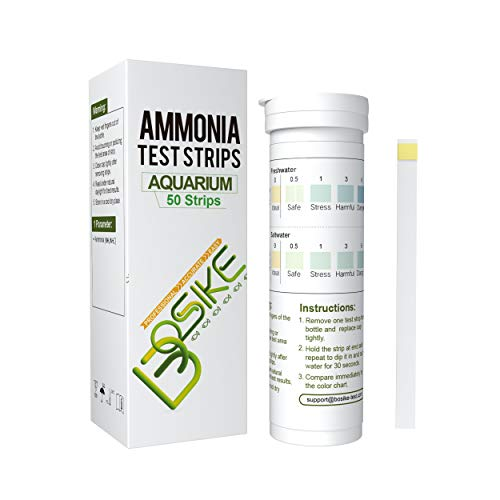 BOSIKE Aquarium Test Strips Ammonia,Water Test Kitfor Freshwater/Saltwater/Fish Tank/PondMonitor Aquarium Water Quality, NH3/NH+4 for Accurate Water Evaluation, Pack of 50