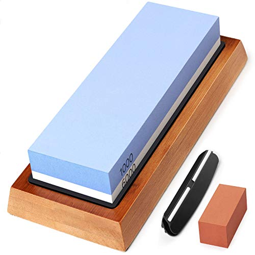Xergur Knife Sharpening Stone Set - Dual Grit Whetstone 1000/6000 - Professional 2-in-1 Double-Sided Knife Sharpener with Stable Bamboo Base, Knife Angle Holder, Flattening Stone for Kitchen