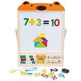 OSHA HJWMM Pizarra Infantil Caballete para Niños, 2 en 1 Tablero de Dibujo con Pegatinas de Números Magnéticos y Tangramas Giratorio (Color : Bear, Size : 44x31x1.5cm)