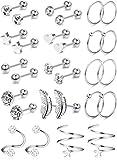 CASSIECA 14 Paires Boucles d'oreilles Cartilage Mode Étoile