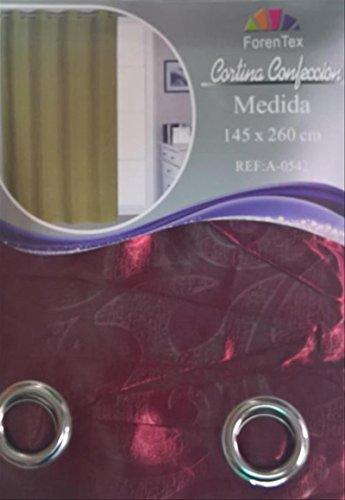 ForenTex - Cortina Opaca (A-0543), Granate, 145 x 260 cm, Curtain Aislante de Calor y Frio, reducción Ruido, Anti Polvo, Acabados ollaos Acero