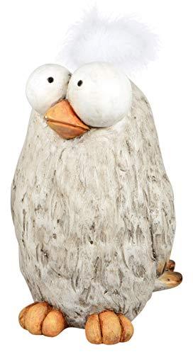dekojohnson lustige Deko-Vogel Deko-Huhn Funny Bird mit Kunst-Federn Tischdeko Osterdeko Natur beige stehend 12x15cm Osterfest Tierfigur