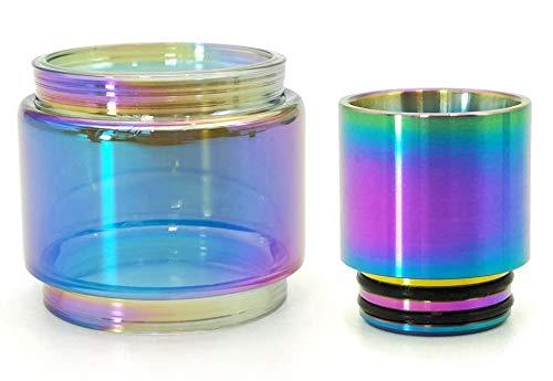 Furuipeng Rainbow Bulb Pyrex Glass Tube + 810 Steel Metal Drip Tip for SMOK TFV12 Prince Tank (Prince)