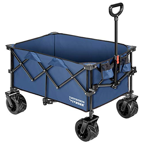 VIVOSUN Folding Collapsible Wagon Utility Outdoor Camping Beach Cart with Universal Wide Wheels & Adjustable Handle, Blue